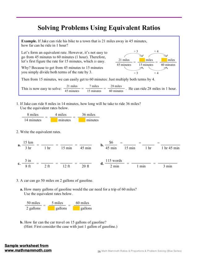 Solving Problems Using Equivalent Ratios 7th 12th Grade – Equivalent Ratio Worksheets