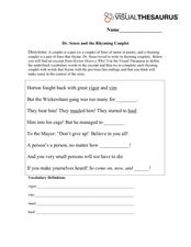 Dr. Seuss and the Rhyming Couplet Worksheet