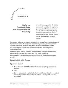 Exploring Quadratic Data With Transformation Graphing Lesson Plan