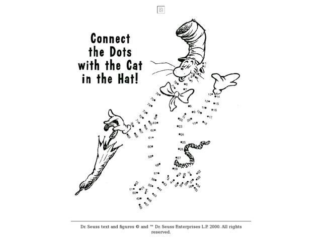 Connect The Dots With The Cat And The Hat! Worksheet For