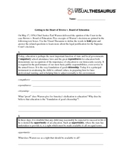 Getting to the Heart of Brown v. Board of Education Worksheet
