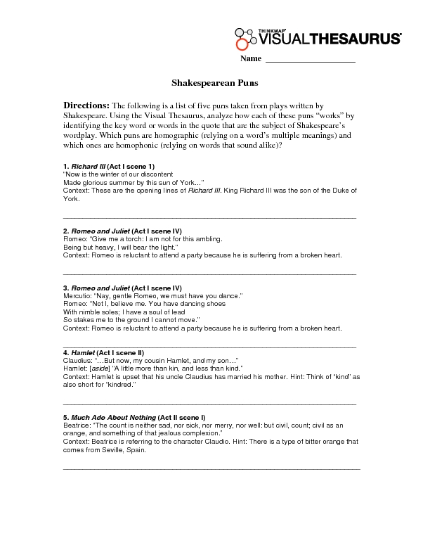Puns Lesson Plans Worksheets Reviewed by Teachers – Pun Worksheet