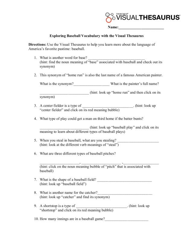 Exploring Baseball Vocabulary with the Visual Thesaurus 2nd 8th – Using a Thesaurus Worksheet