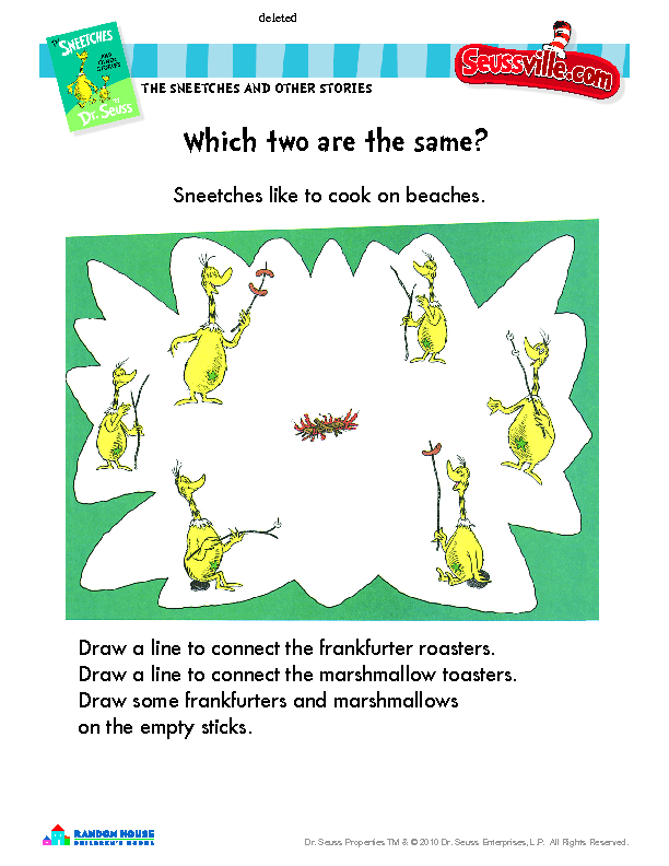 Dr Seuss The Sneetches Worksheet For Pre K Kindergarten Lesson Planet