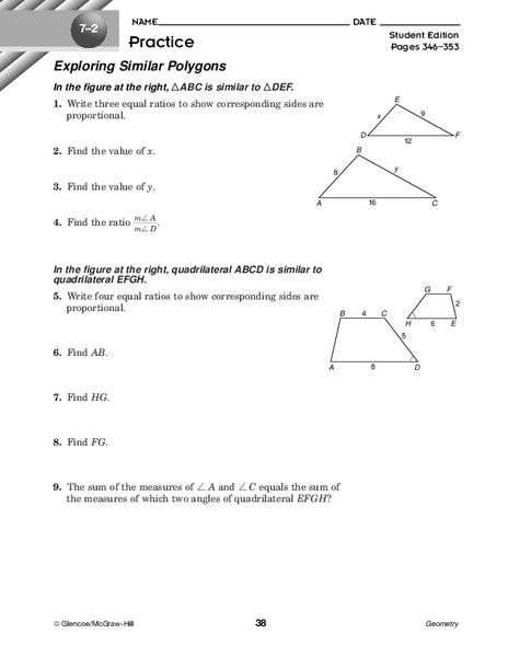 Exploring Similar Polygons Worksheet For 10th Grade