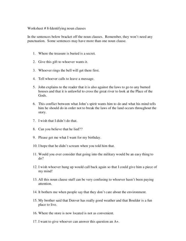 Identifying Noun Clauses 4th 8th Grade Worksheet – Noun Clauses Worksheet