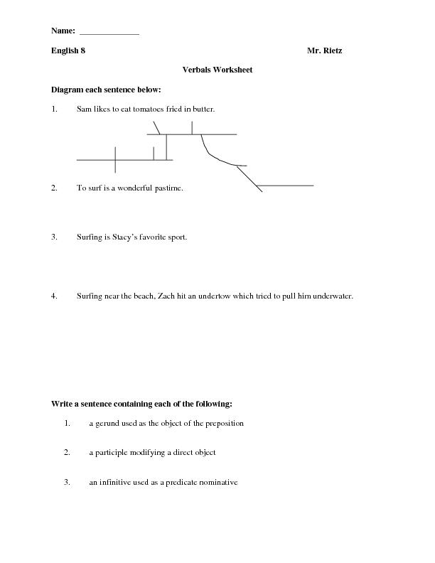 Verbals Worksheet Worksheet For 8th Grade