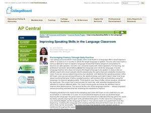 Improving Speaking Skills in the Language Classroom  Lesson Plan