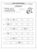 Counting in Tens, Beginning with 70 Worksheet