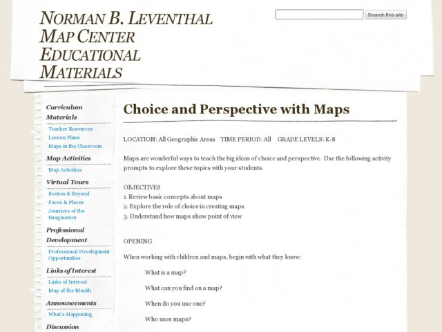 Choice and Perspective with Maps Lesson Plan