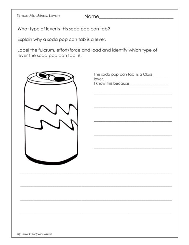 Levers What Type of Lever Is This Soda Pop Can Tab 3rd 5th – Types of Levers Worksheet