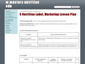 Food Product Packaging: Marketing & the Nutrition Facts Label Lesson Plan