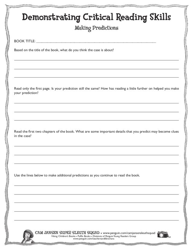 Printable Worksheets critical reading skills worksheets : Demonstrating Critical Reading Skills Worksheet for 2nd - 5th ...