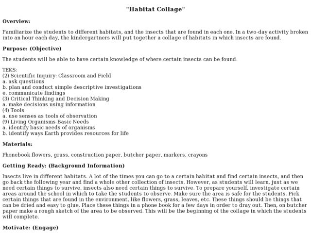 Habitat Collage Lesson Plan