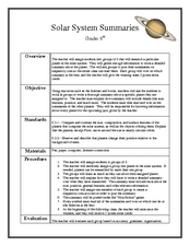 Solar System Summaries Lesson Plan