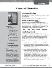 Cause and Effect - Plot Lesson Plan