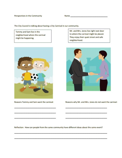 Perspectives in the Community Worksheet