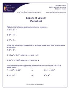 Exponent Laws Worksheet