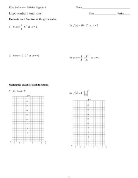 Exponential Functions Worksheet For 9th 12th Grade
