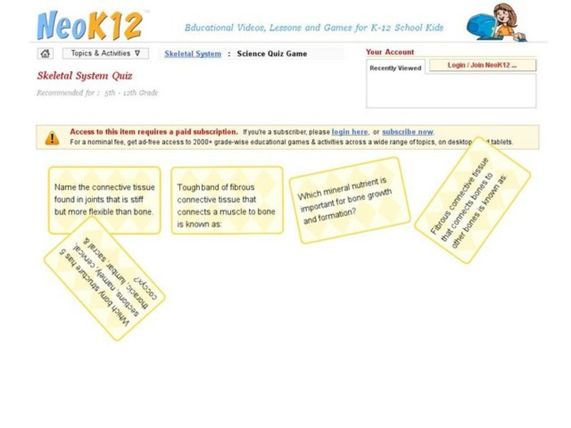 Skeletal System Quiz Interactive for 7th - 12th Grade   Lesson Planet
