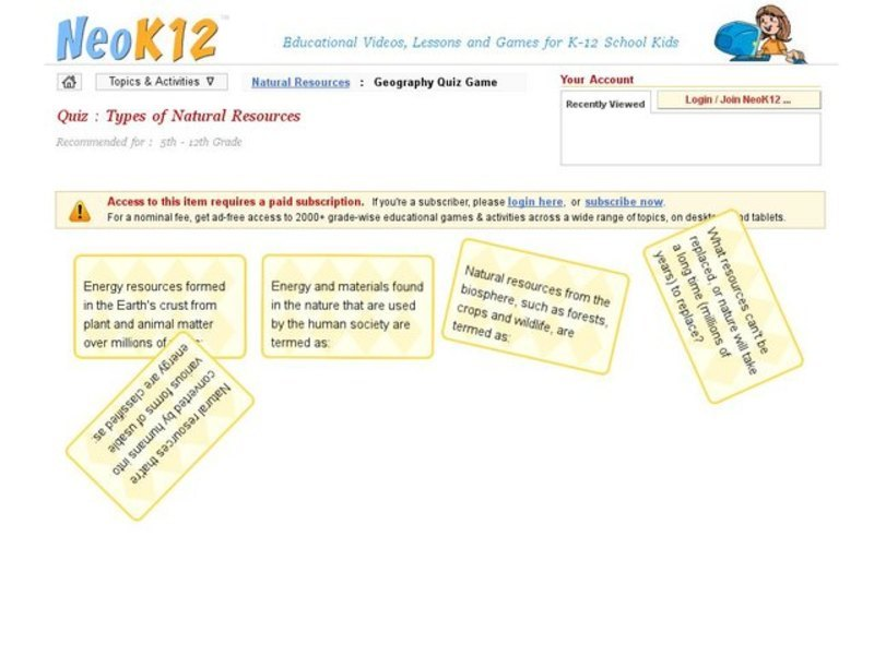 Types of Natural Resources Interactive for 5th - 12th Grade