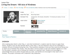 Living the Dream: 100 Acts of Kindness Lesson Plan
