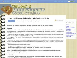 I am the Mummy Heb-Nefert Reinforcing Activity Lesson Plan
