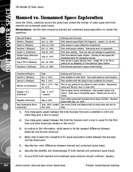 Manned vs. Unmanned Space Exploration 5th - 8th Grade Worksheet ...