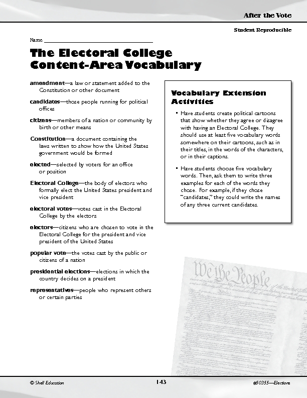 The Electoral College Activities 8th - 12th Grade Worksheet ...