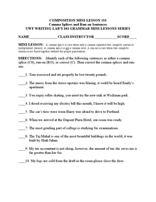 Comma Splices and Run-on Sentences Worksheet for 3rd - 6th Grade ...