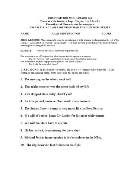 Conjunctive Adverbs Lesson Plans Worksheets Reviewed By Teachers