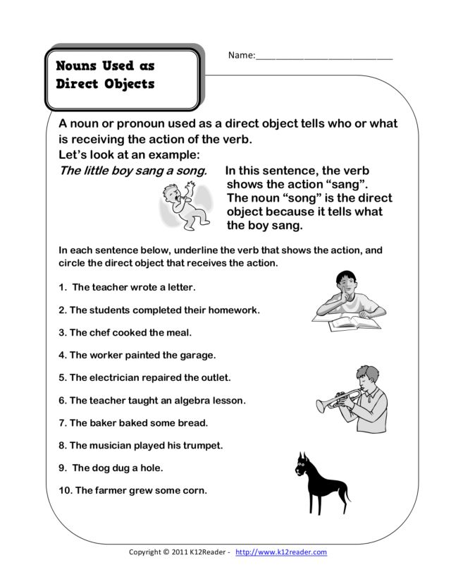 Nouns Used as Direct Objects 4th 6th Grade Worksheet – Direct Object Worksheets