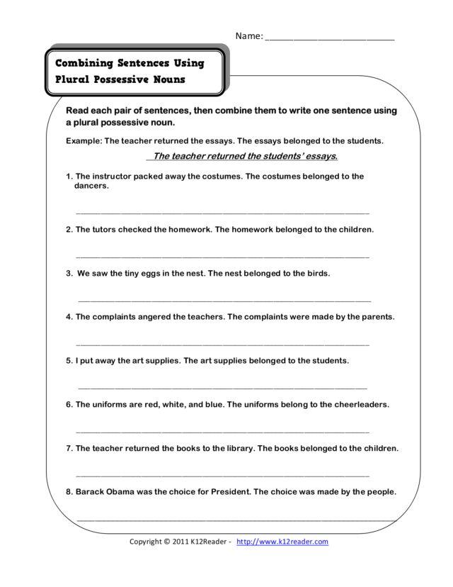 Combining Sentences Using Plural Possessive Nouns 3rd 6th Grade – Plural Possessive Nouns Worksheets