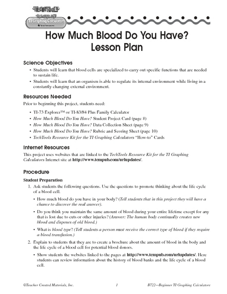 How Much Blood Do You Have? Lesson Plan