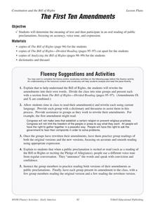 The First Ten Amendments Worksheet