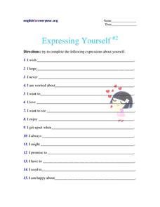 Expressing Yourself #2 Worksheet