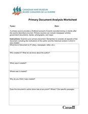 DMS Performance Literacy Tasks: Written Document Analysis Worksheet