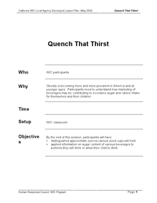 Quench That Thirst Lesson Plan