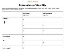 Expressions Of Quantity Worksheet
