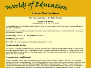 The Humorous Side of the Solar System Lesson Plan