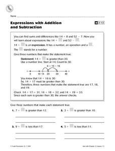 Expressions with Addition and Subtraction Worksheet