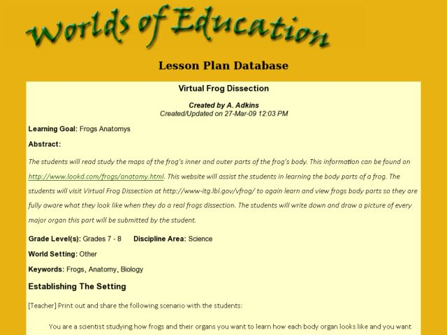 Virtual Frog Dissection Lesson Plan For 7th 8th Grade