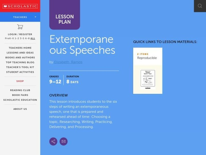 Extemporaneous Speeches Lesson Plan