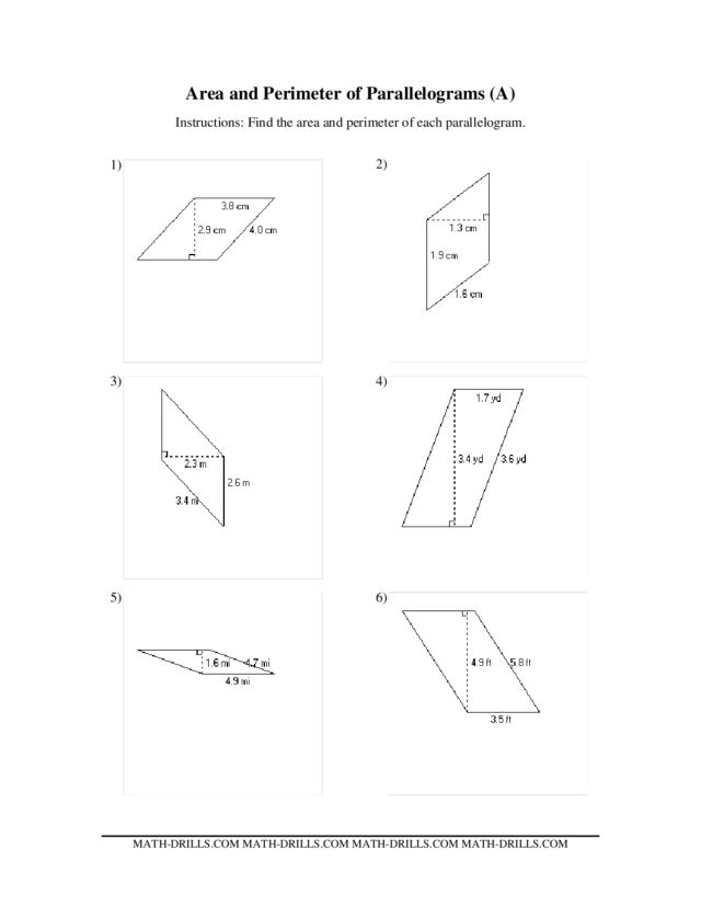 Area and Perimeter of Parallelograms (A) Worksheet for 5th