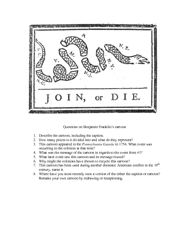 Questions On Benjamin Franklin S Cartoon Worksheet For 8th