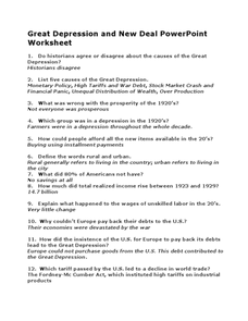 Great Depression Worksheet - Templates and Worksheets