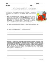 AP: Chapter 9: Respiration - Extra Credit 1 Worksheet