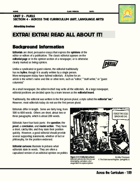 Extra! Extra! Read All About It! Activities & Project
