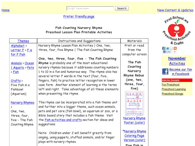 Fish Counting Nursery Rhyme Lesson Plan