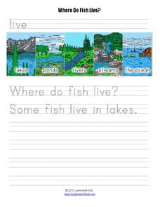 Where do fish live worksheet for kindergarten 2nd grade for Where do fish live